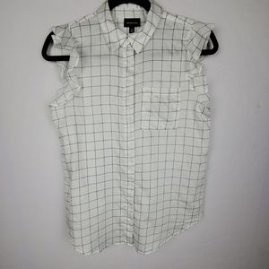 WHO WHAT WEAR White Black Checked Ruffle Sleeves